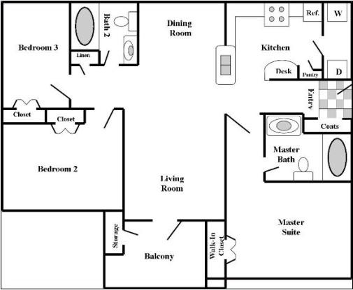 1,150 sq. ft. 60% floor plan