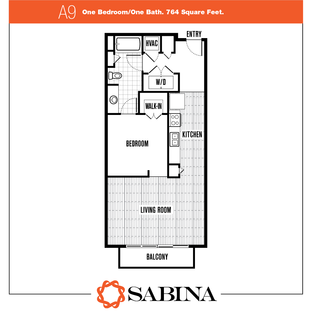 764 sq. ft. A9 floor plan