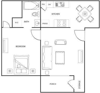 608 sq. ft. floor plan