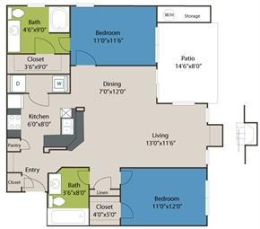 1,060 sq. ft. B1 floor plan