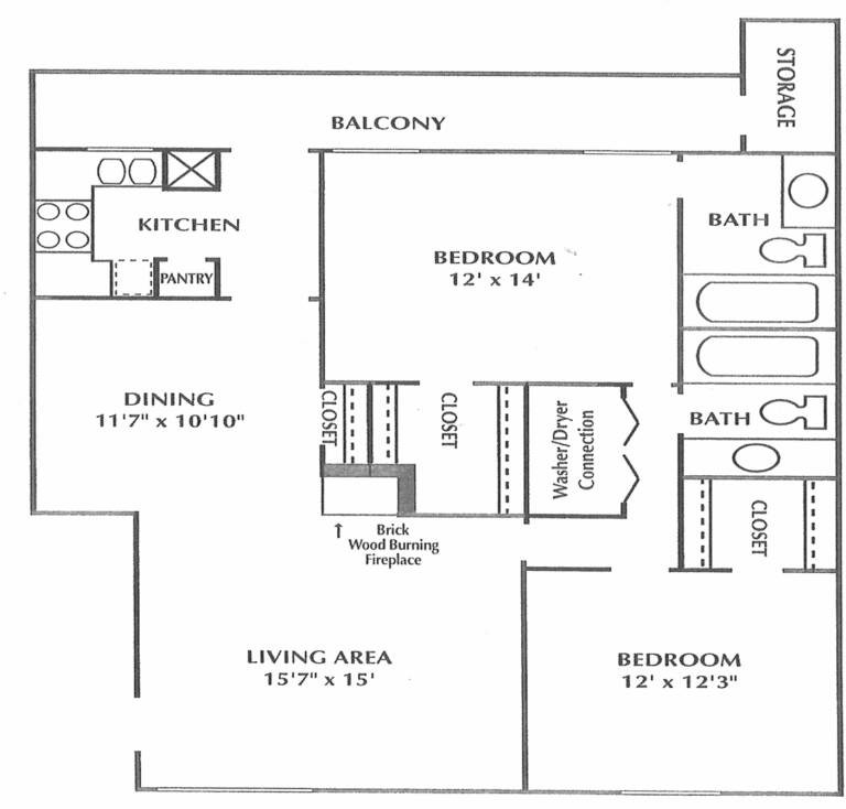 1,113 sq. ft. C floor plan