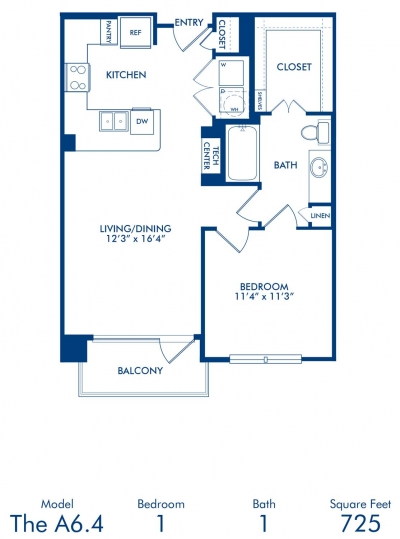725 sq. ft. A6.4 floor plan