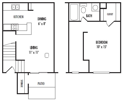 644 sq. ft. A1 floor plan