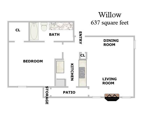 637 sq. ft. Willow floor plan