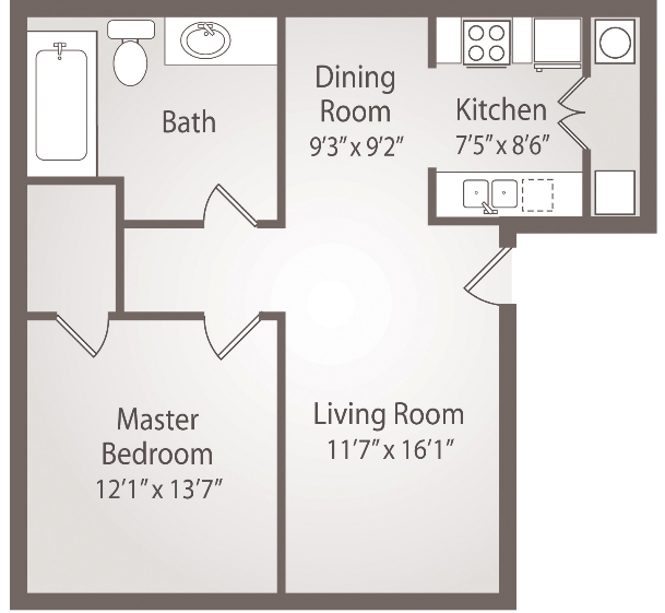624 sq. ft. A2 floor plan
