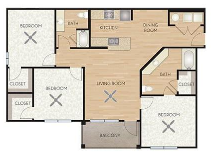 1,285 sq. ft. C2/Wisteria ADA floor plan