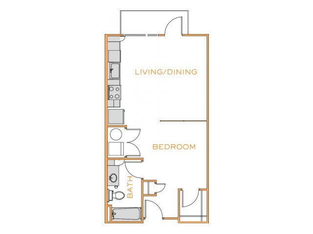 576 sq. ft. Ash floor plan