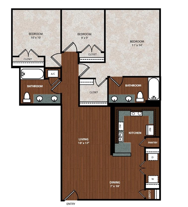 1,090 sq. ft. C1 floor plan