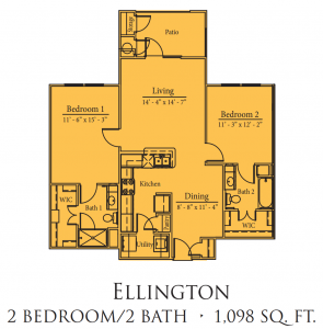 1,098 sq. ft. Ellington/60% floor plan