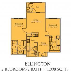 1,098 sq. ft. Ellington/50% floor plan