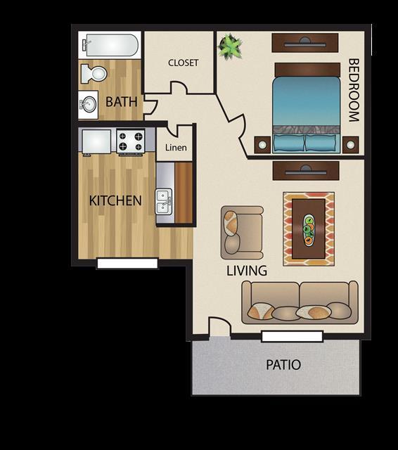 452 sq. ft. Eff floor plan