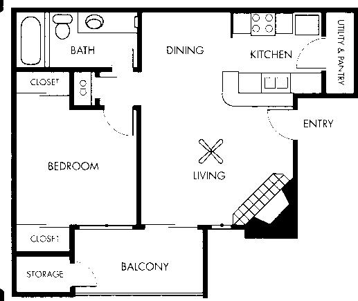 581 sq. ft. Van Gogh floor plan