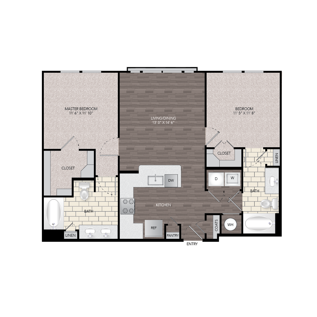 1,018 sq. ft. B4 floor plan