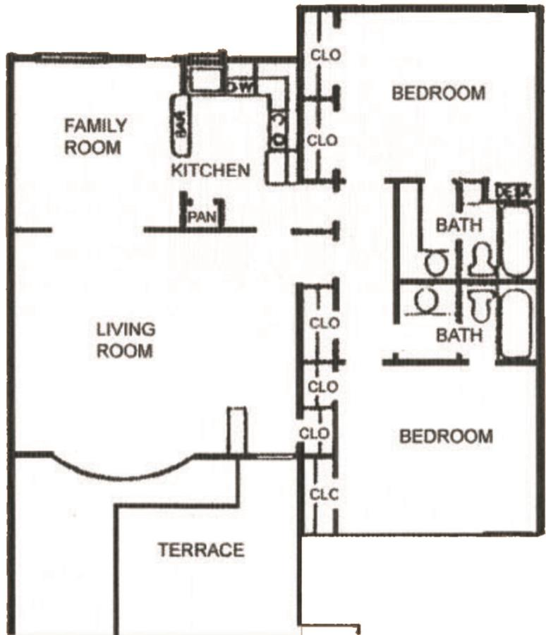 1,009 sq. ft. B-2 floor plan