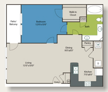 781 sq. ft. A1 floor plan