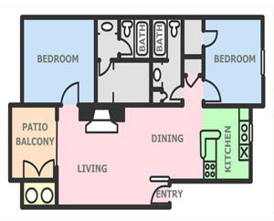 948 sq. ft. B3 floor plan