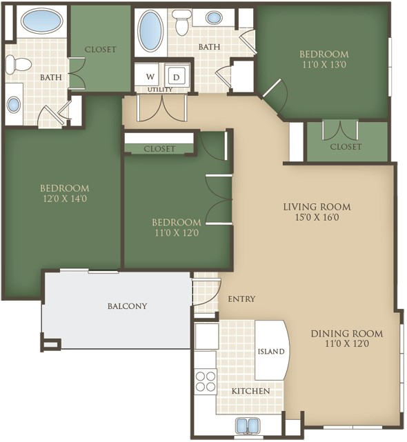 1,419 sq. ft. C2 floor plan