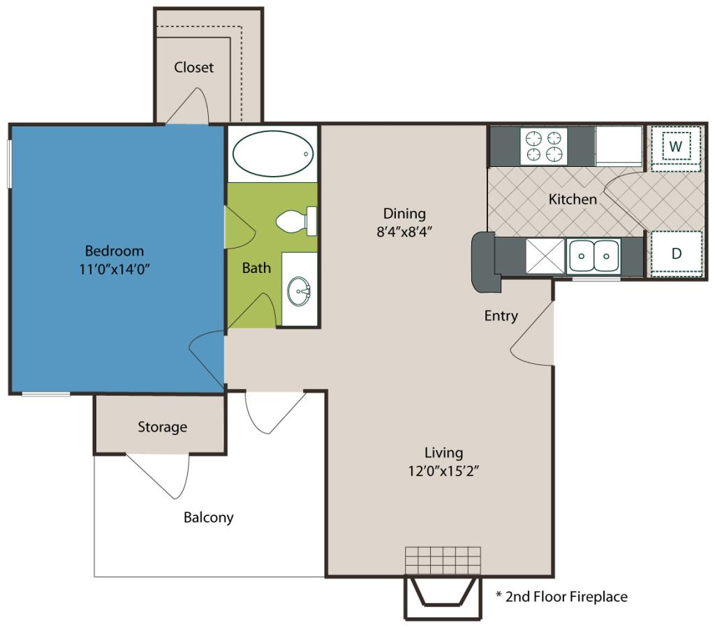 659 sq. ft. A2 floor plan