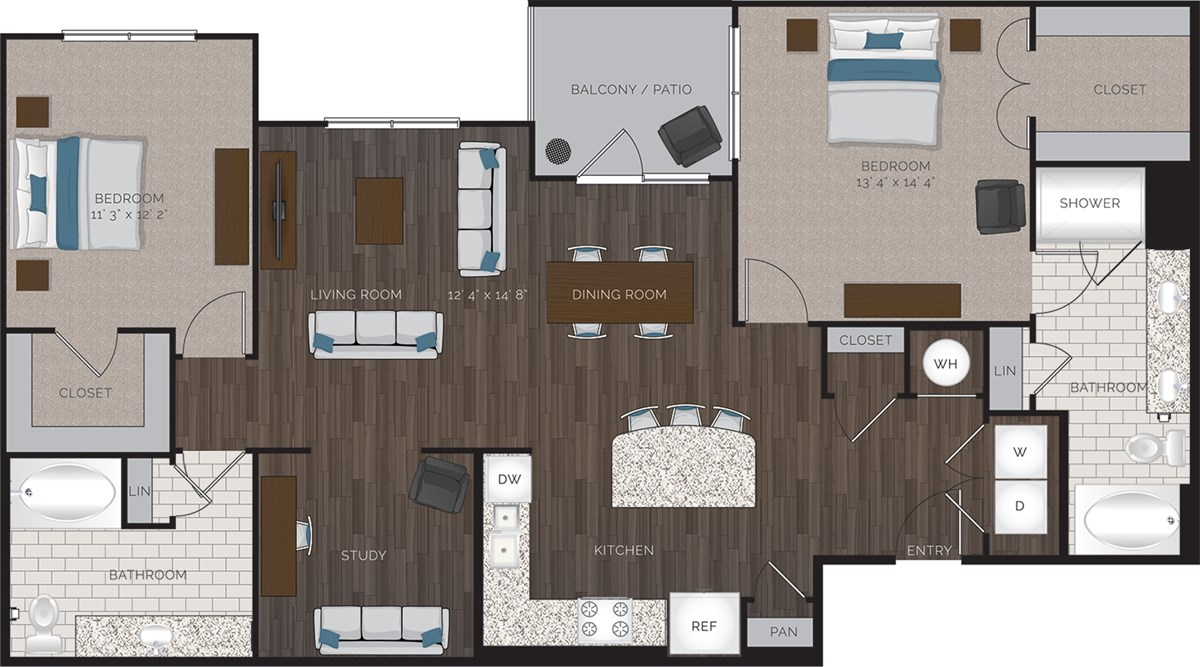 1,435 sq. ft. B8 floor plan