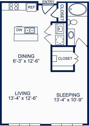 685 sq. ft. II/A1 floor plan