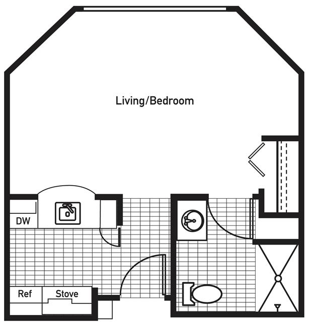 441 sq. ft. UnionHill floor plan