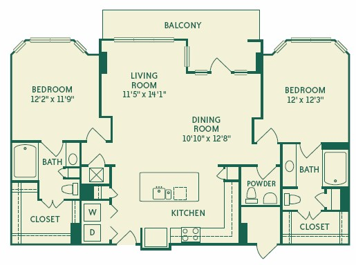 1,269 sq. ft. 2B3 floor plan