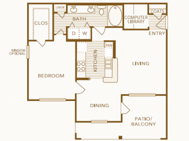 802 sq. ft. A1 floor plan
