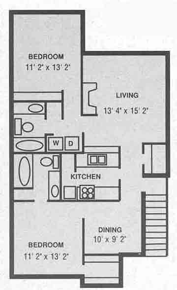 1,100 sq. ft. B-1 floor plan