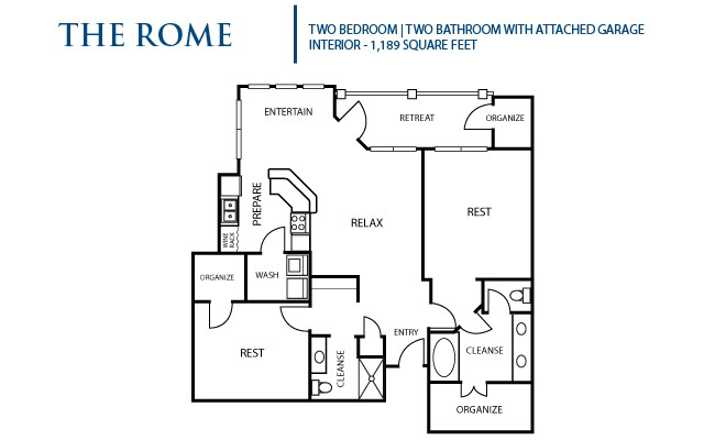 1,189 sq. ft. Rome floor plan