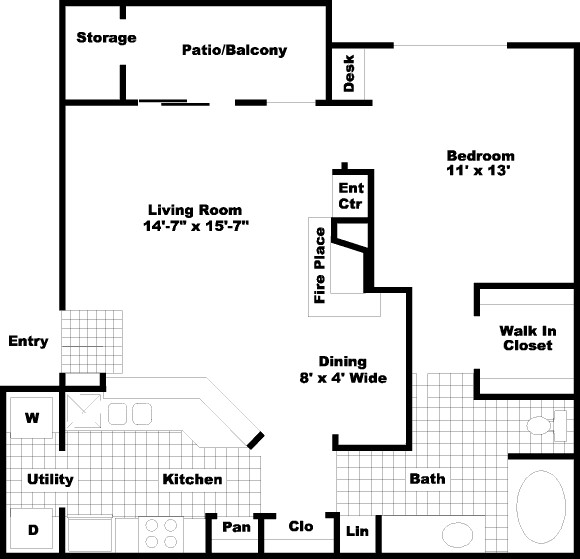 805 sq. ft. PH I floor plan