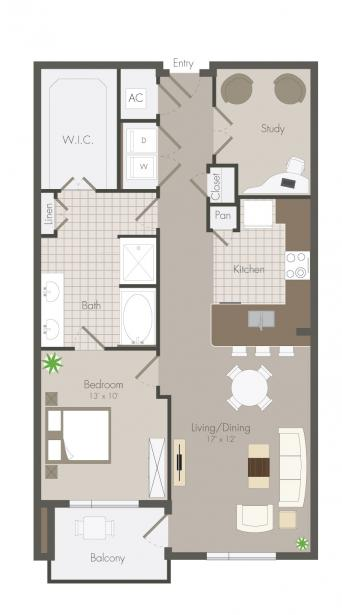 923 sq. ft. Inker floor plan