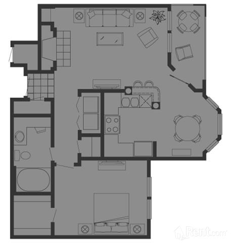 768 sq. ft. B1 floor plan
