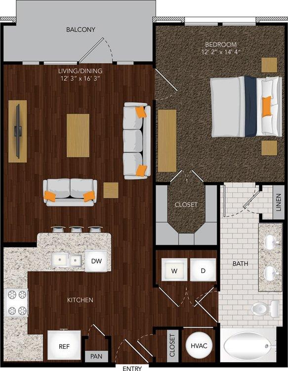 758 sq. ft. A14 floor plan
