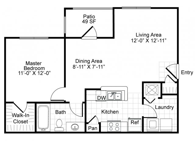 680 sq. ft. A1-Intermezzo floor plan