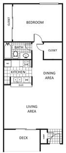 742 sq. ft. Oak B floor plan