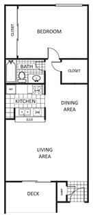 742 sq. ft. Oak B floor plan