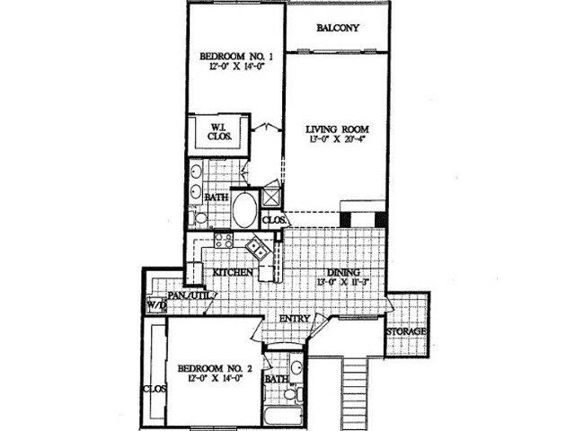 1,356 sq. ft. B6 floor plan