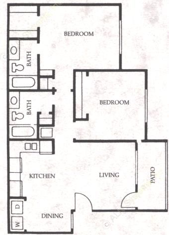 870 sq. ft. Mustang floor plan