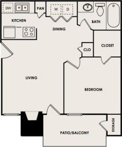 506 sq. ft. A2 floor plan