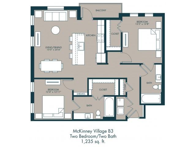 1,235 sq. ft. B3 floor plan