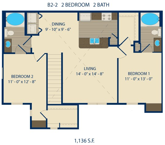 1,013 sq. ft. HOPKINS floor plan