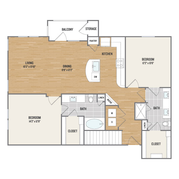 1,272 sq. ft. B22 floor plan