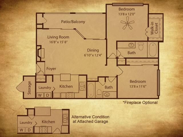 1,165 sq. ft. B3 G floor plan