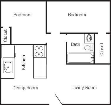 850 sq. ft. PLAN 2 floor plan