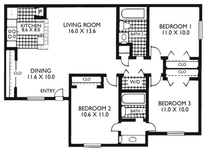 1,024 sq. ft. C1 floor plan