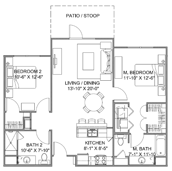 1,026 sq. ft. Promenade A Mkt floor plan