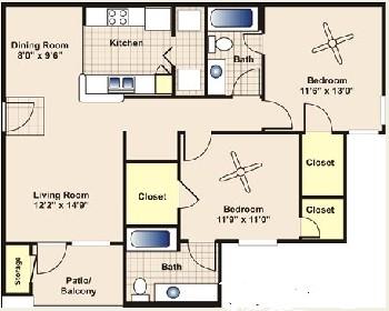 997 sq. ft. to 1,050 sq. ft. B2 floor plan