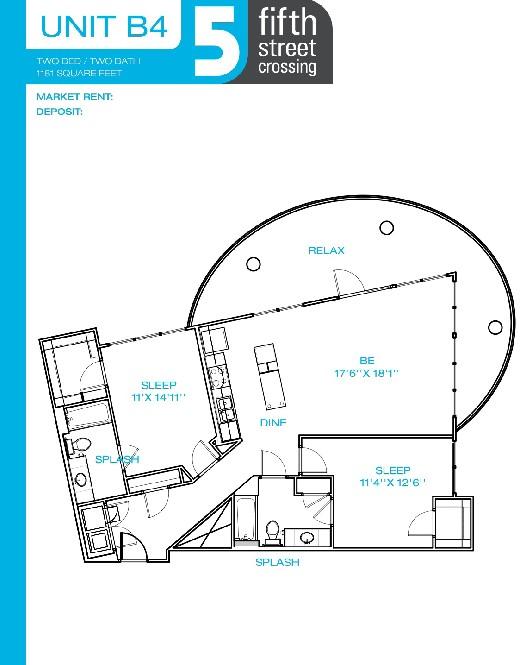 1,181 sq. ft. B4 floor plan