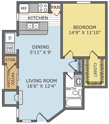 730 sq. ft. Legacy floor plan