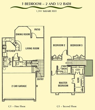 1,391 sq. ft. C1 floor plan